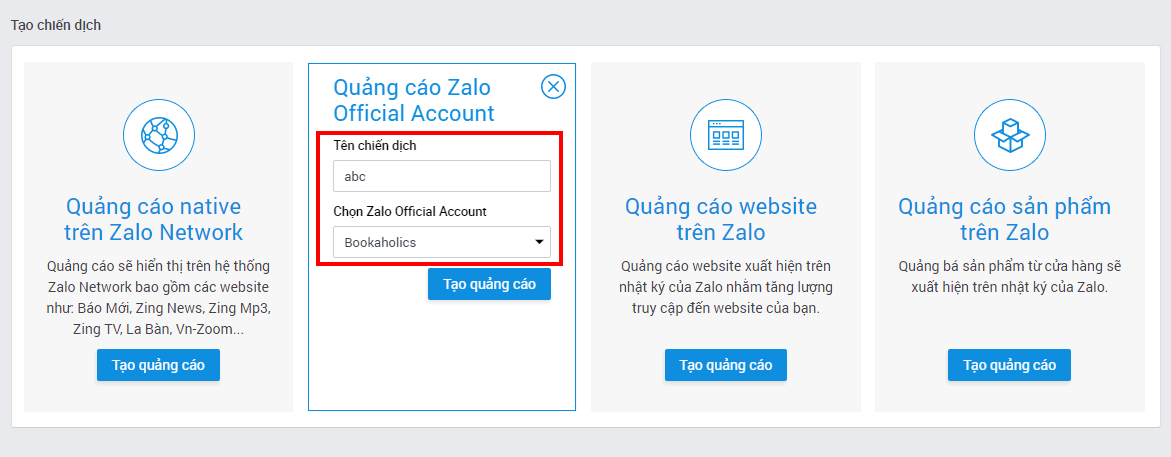 Quảng cáo Zalo Official Account