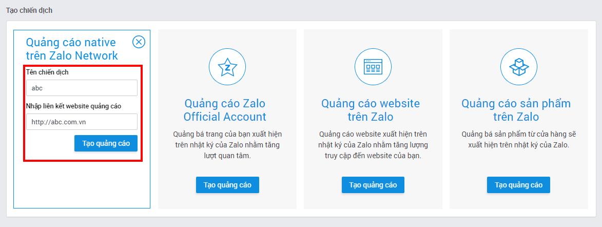 Quảng cáo Native trên Zalo Network