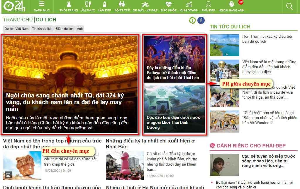 Vị trí bài PR đầu chuyên mục và giữa chuyên mục du lịch - Trang chuyên mục báo 24h.com.vn
