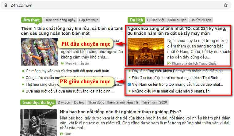 Vị trí bài PR đầu chuyên mục và giữa chuyên mục du lịch - Trang chủ báo 24h.com.vn
