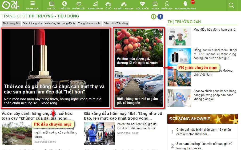 Vị trí bài PR đầu chuyên mục và giữa chuyên mục thị trường tiêu dùng - Trang chuyên mục báo 24h.com.vn