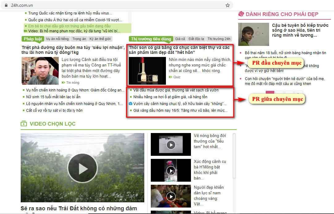 Vị trí bài PR đầu chuyên mục và giữa chuyên mục thị trường tiêu dùng - Trang chủ báo 24h.com.vn