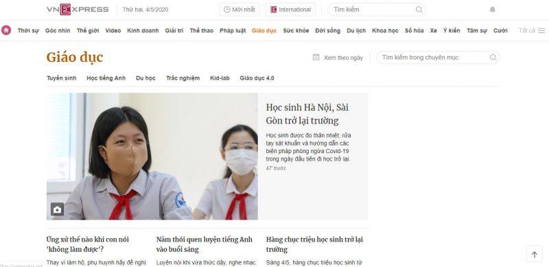 Báo giá đăng bài PR chuyên mục giáo dục báo VnExpress.net