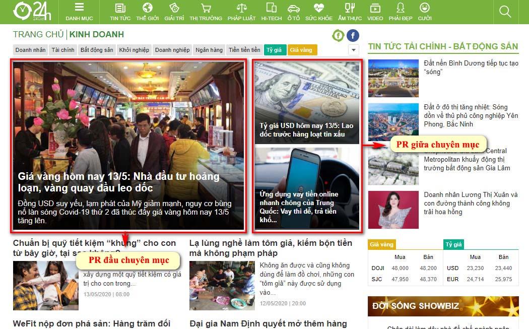 Vị trí bài PR đầu chuyên mục và giữa chuyên mục kinh doanh trang chuyên mục báo 24h.com.vn