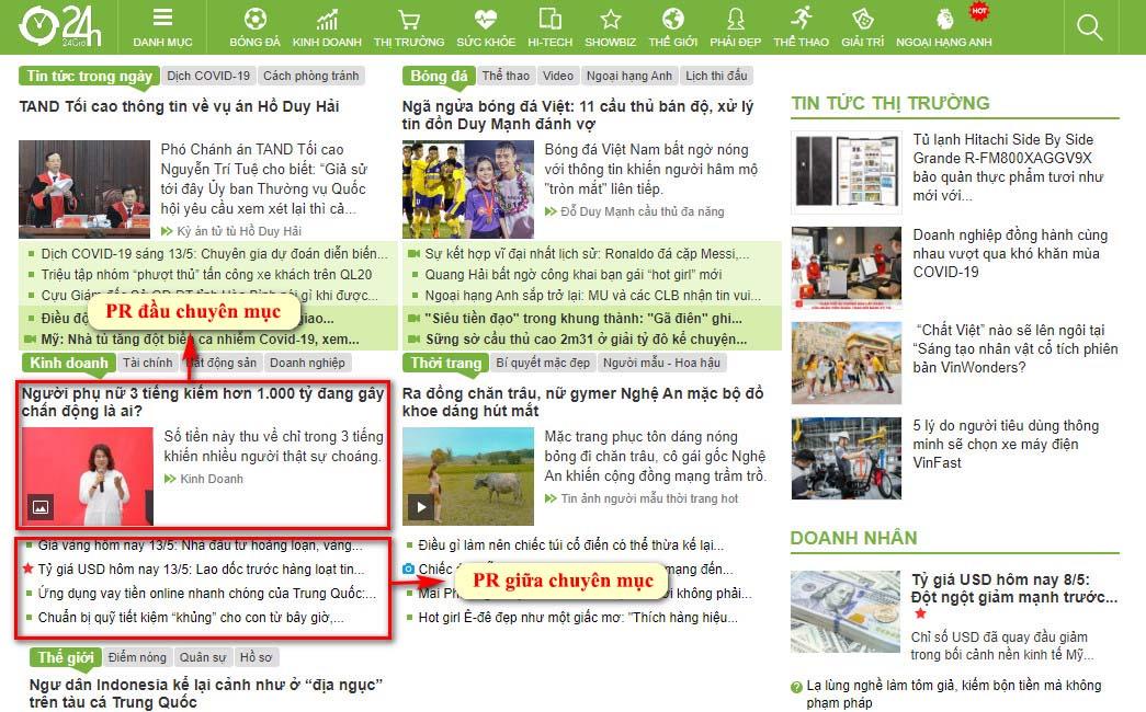 Vị trí bài PR đầu chuyên mục và giữa chuyên mục kinh doanh trang chủ báo 24h.com.vn
