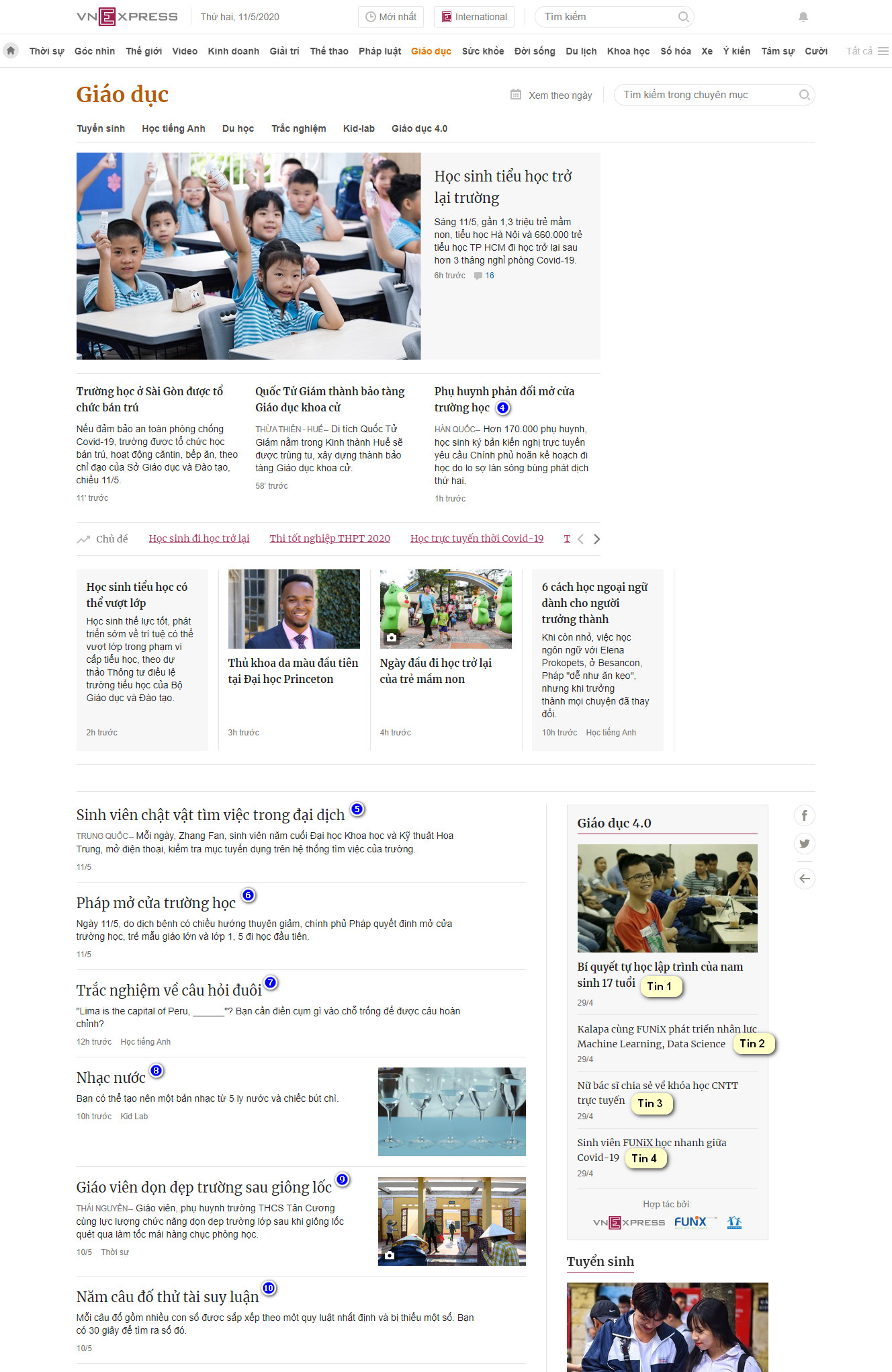 Vị trí đăng quảng cáo chuyên mục giáo dục báo VnExpress.net