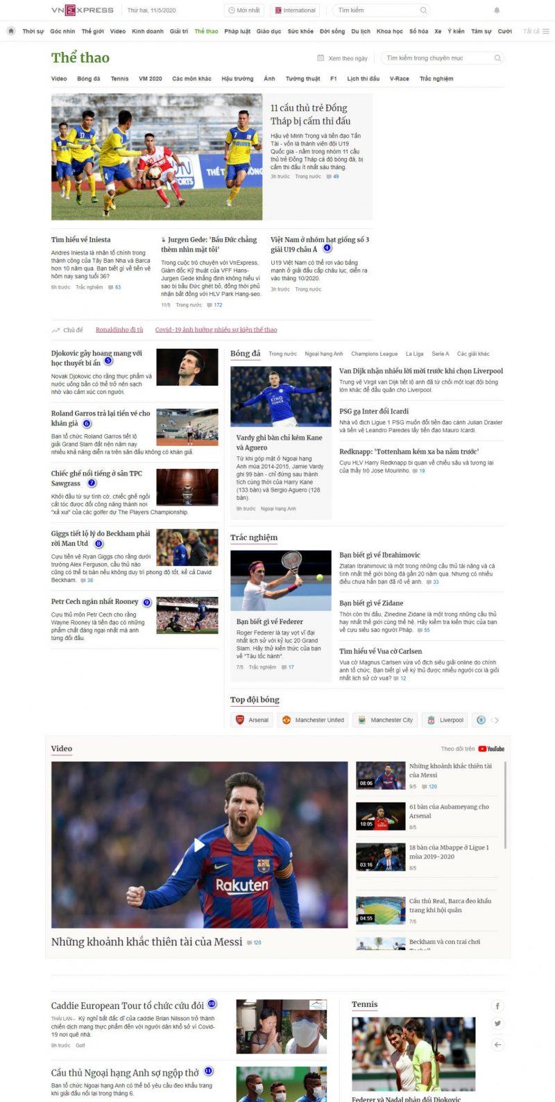 Vị trí đăng bài quảng cáo chuyên mục thể thao, báo VnExpress.net